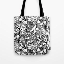 Hawaiian Polynesian Trbal Tatoo Print Tote Bag