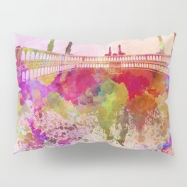 Mecca skyline in watercolor background Pillow Sham