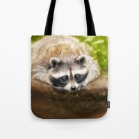 racoon Tote Bags featuring baby racoon by Photoplace