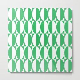 Mid Century Modern Geometric Half Oval Pattern 240 Green Metal Print