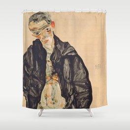 """Egon Schiele """"Selbstbildnis als Halbakt in schwarzer Jacke (Self-portrait in a black jack)"""" Shower Curtain"""