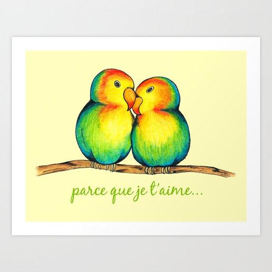 Love Birds on a Branch Art Print