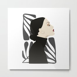Girl in black sweater Metal Print