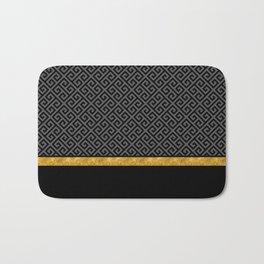 Chic Black Gray Greek Key Gold Border Bath Mat