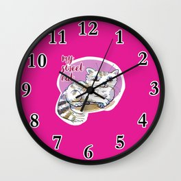 my sweet cat cute cartoon Wall Clock