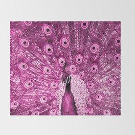 Pink Peacock Throw Blanket