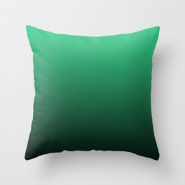 Turquoise, green, black gradient, Ombre. Throw Pillow