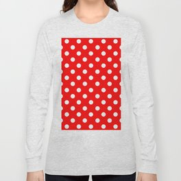 Polka Dots (White & Classic Red Pattern) Long Sleeve T-shirt