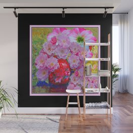 BLOOMING PINK ROSES IN RED VASE BLACK FRAME Wall Mural