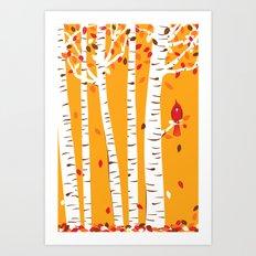 Autumn Cardinal Wall Art Art Print
