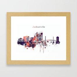 Jacksonville City Skyline Framed Art Print