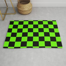 Checkered Pattern: Black & Slime Green Rug