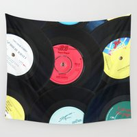 records Wall Tapestries featuring Retro Vinyl Records by Phil Smyth
