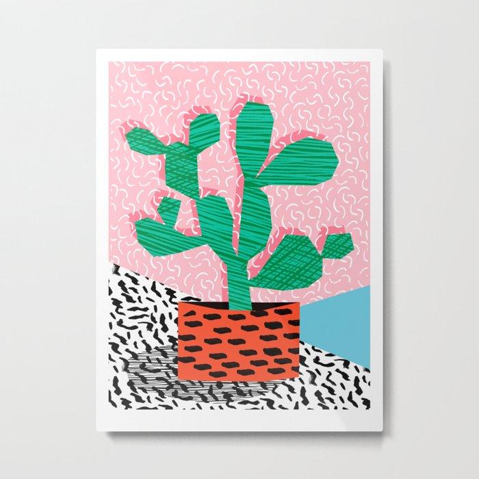 Cool Hang - cactus minimal retro memphis design 1980s 80s style dots pattern pink neon desert art Metal Print