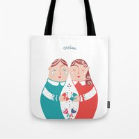 sister Tote Bags featuring Sister by Michela Gaburro