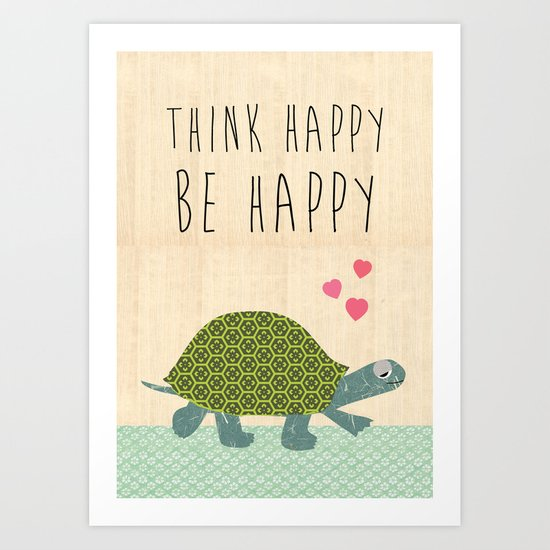 Think happy be happy typography Print on wooden background Art Print