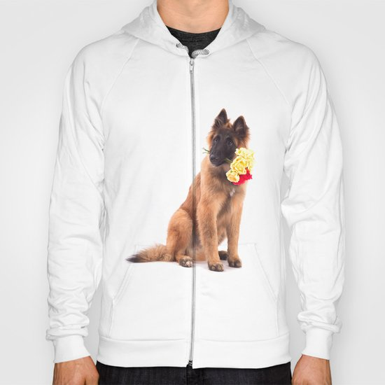 Puppy with roses  Hoody