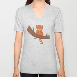 Kawaii Cute Red Panda Unisex V-Neck