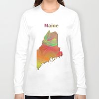 maine Long Sleeve T-shirts featuring Maine Map by Roger Wedegis