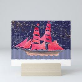 Sailing on a starry night Mini Art Print