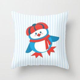 Dapper Young Penguin Throw Pillow