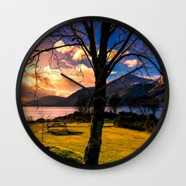 Soft Evening in the Lake Wall Clock