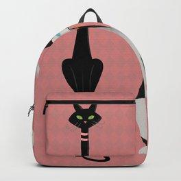 Midcentury Modern Sleek And Stylish Parisian Kitty Cat Trio Backpack