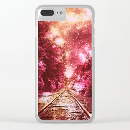 Train Tracks Burgundy : Next Stop Anywhere Clear iPhone Case