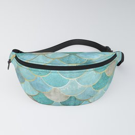 Moroccan Mermaid Fish Scale Pattern, Aqua,Teal Fanny Pack