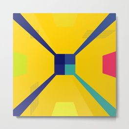 Nouveau Retro Graphic Yellow Blue and Red Metal Print