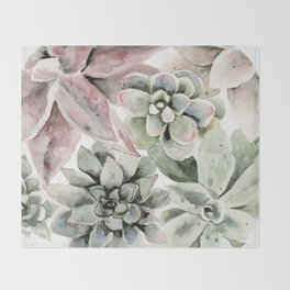 Circular Succulent Watercolor Throw Blanket