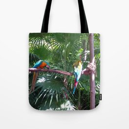 Macaws on the tree Tote Bag