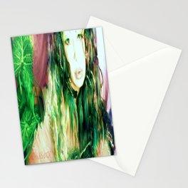 Fairy feather  fairy goddess green feathers  kashmir,art print  Stationery Cards