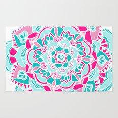 Hot Pink & Teal Mandala Flower Rug