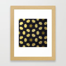 Contemporary Geometric Pattern Accented By Gold Stars Framed Art Print
