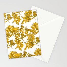 Ocre Seaweed Pattern Stationery Cards