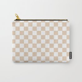 Small Checkered - White and Pastel Brown Carry-All Pouch