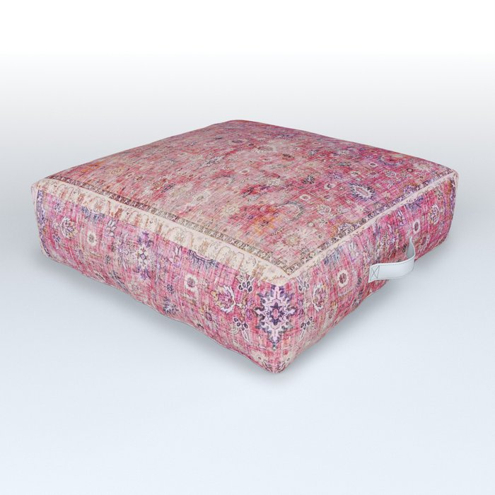 N45 - Pink Vintage Traditional Moroccan Boho & Farmhouse Style Artwork. Outdoor Floor Cushion