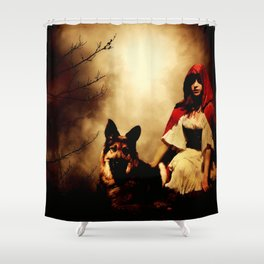 Red and Her Wolf Shower Curtain