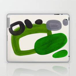 Minimalist Modern Mid Century Colorful Abstract Shapes Olive Green Retro Funky Shapes 60's Vintage Laptop & iPad Skin