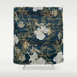 Indigo Stripes with Flowers Shower Curtain