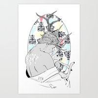 fawn Art Prints featuring Fawn by Cassandra Jean
