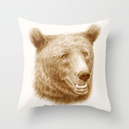 Brown bear is happy Throw Pillow