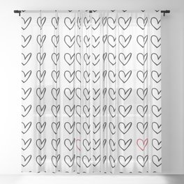 HEARTS ALL OVER PATTERN IV Sheer Curtain