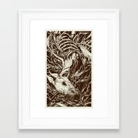 deer Framed Art Prints featuring doe-eyed by Teagan White