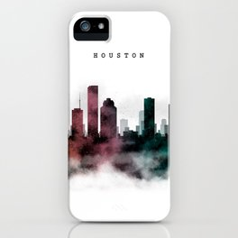Houston Watercolor Skyline iPhone Case