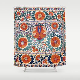 Shakhrisyabz Suzani Uzbekistan Antique Embroidery Print Shower Curtain