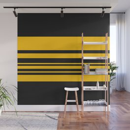 Yellow stripes on black Wall Mural