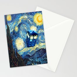 Soaring Tardis doctor who starry night oil painting Stationery Cards