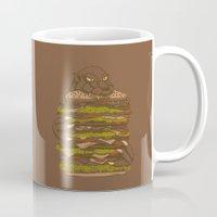 hamburger Mugs featuring Godzilla vs Hamburger by Sarinya  Withaya